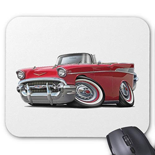 1957 Chevy Belair Red Convertible Mouse Pad 7.08X8.66 inches/18X22 cm,Non-Toxic Design