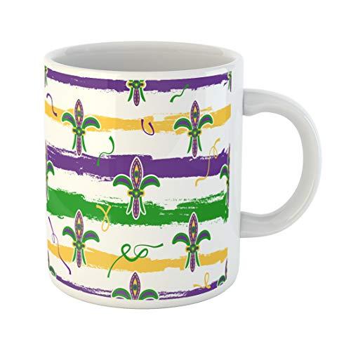 Semtomn Funny Coffee Mug Mardi Gras Fleur De Lis Green Purple Yellow 11 Oz Ceramic Coffee Mugs Tea Cup Best Gift Or Souvenir