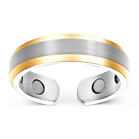 Elegant Titanium Magnetic Therapy Ring Pain Relief for Arthritis and Carpal Tunnel (Mood Rings Size)