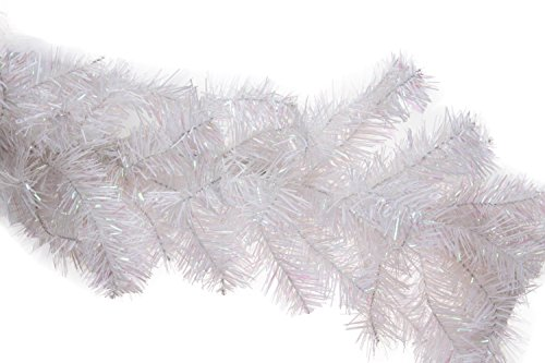 Christmas Tree Branch Style Garland by Clever Creations | Festive Holiday Décor | Realistic Frosted White Pine Garland | Wire with Artificial Needles | Bendable/Poseable | Indoor/Outdoor Use | 9' Long
