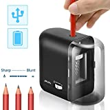 Pencil Sharpener, Electric Pencil Sharpener Auto Stop Fast Sharpen USB/Battery Operated for 8mm diameter Pencils in Classroom/Office/Home(USB/AC Adapter Included)