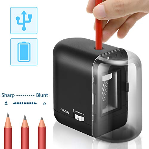 Pencil Sharpener, Electric Pencil Sharpener Auto Stop Fast Sharpen USB/Battery Operated for 8mm diameter Pencils in Classroom/Office/Home(USB/AC Adapter Included) by JARLINK