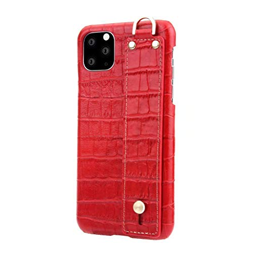 Yuege for iPhone 11/Pro/Pro Max Leather Case, Crocodile Leather Design Drop Protection Shockproof Case with Hand Strap Holder for iPhone 11 Pro/iPhone 11 Pro Max/iPhone 11
