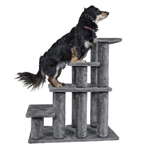 Furhaven Pet Stairs | Steady Paws Easy Multi-Step Pet Stairs Assist Ramp for Dogs & Cats, Gray, 4-Step (Bed Height Beds Dog)