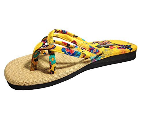 Siam-Smile-Womens-Weave-Yellow-vSandals-General-Wear-Made-From-Natural-Materials-Natural-Fibers