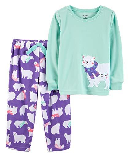 Carter's Girls' 2-Piece Fleece Pajamas Top and Pants Set (Polar Bear, 3T)