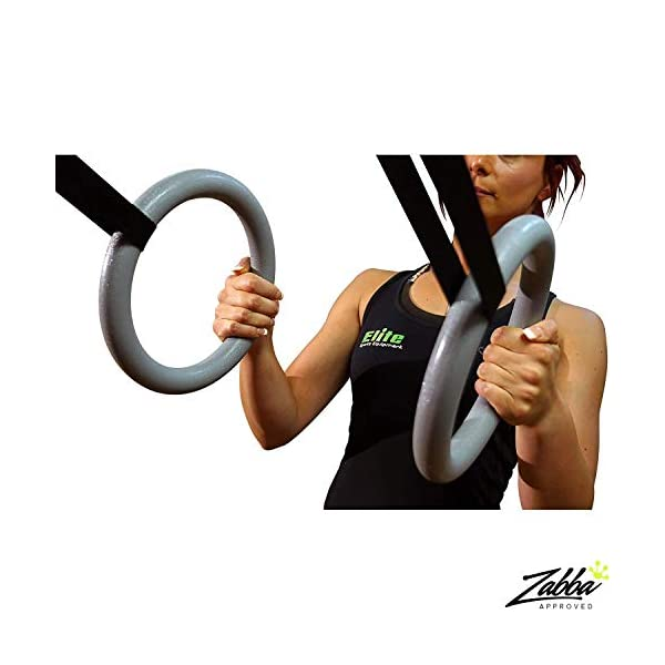 Elite Gymnastic Rings - Our Suspension Trainer has Trustworthy Buckles and Straps - Includes 2 Non-Slip Textured Gymnastics Rings - Very Reliable Gymnastic Equipment for Adults or Kids