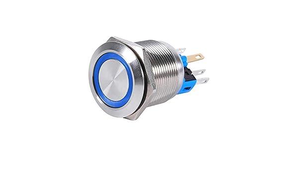 Interruptor de bot/ón pulsador de bloqueo autom/ático universal Suuonee azul 22 mm 12V LED 6 pines Interruptor de bot/ón de bloqueo de bloqueo autom/ático de acero inoxidable a prueba de agua