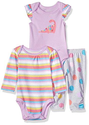 The Children's Place Baby Girls 3 Piece Princess Bodysuit Pant and Bib Playwear Bundle Set, Lilac Luster, 0-3MONTHS - Bundle 3 Month