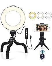 """6"""" Ring Light MACTREM Luce ad Anello LED con Treppiede Flessibile Octopus e Supporto per Smartphone, Luce Selfie Anello Modalità a 3 Luci per Trucco, Fotografia, Selfie e Video YouTube"""