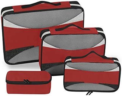 トラベル ポーチ 旅行用 収納ケース 4点セット トラベルポーチセット アレンジケース スーツケース整理 赤い鉄 十字架と黒 白の旗 収納ポーチ 大容量 軽量 衣類 トイレタリーバッグ インナーバッグ