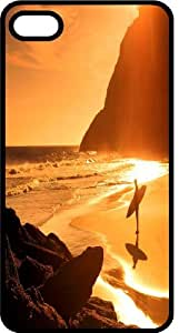 Surfer At Sunrise Waiting On The Waves Black Plastic Case for Apple iPhone 5 or iPhone 5s