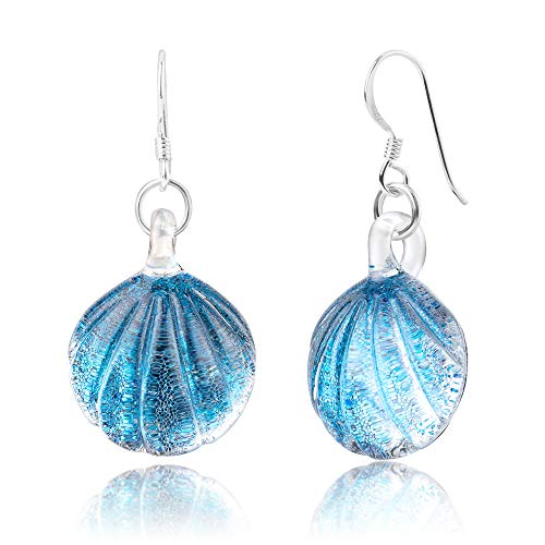 (925 Sterling Silver Hand Blown Venetian Murano Glass Blue Clear Sea Shell Shaped Dangle)
