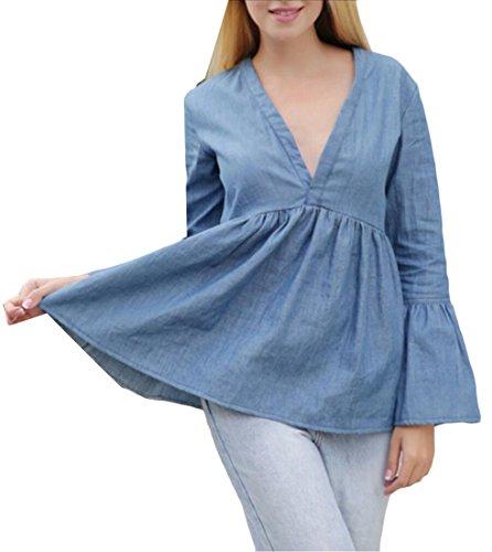 WSPLYSPJY Womens V-neck Sexy Bell Sleeve Pleated Tops Denim Shirt Blue L