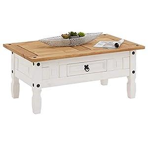 IDIMEX Table Basse Campo Table d'appoint rectangulaire en pin Massif Blanc et Brun avec 1 tiroir, Meuble de Salon Style…