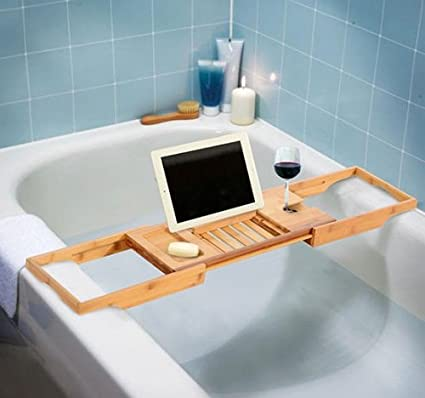 Amazon.com: New Bathtub Rack Bamboo Shelf Shower Tub Book Reading ...