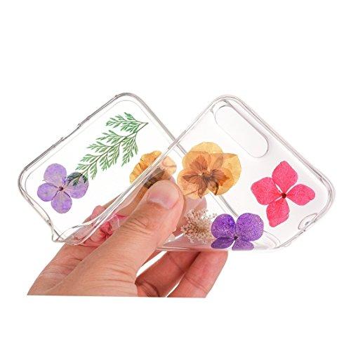 GR Weiche transparente TPU Epoxy Dripping gepresste echte getrocknete Blume Schutzhülle für iPhone 7 Plus ( SKU : Ip7p0996a )