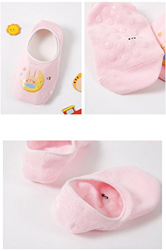 Toddler Non Skid No Show Socks - Low Cut Anti Slip Grip Slippers for Baby Kids Boys Girls 10 Pairs (5-6T, Rabbit) by Junoai (Image #7)