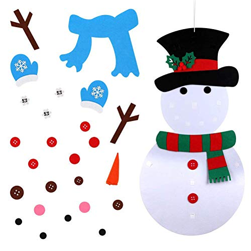 DIY Felt Christmas Snowman Set with with 29pcs Detachable Ornaments for Kids, Xmas Gifts, New Year Door Wall Hanging Decorations-19x39 Inches