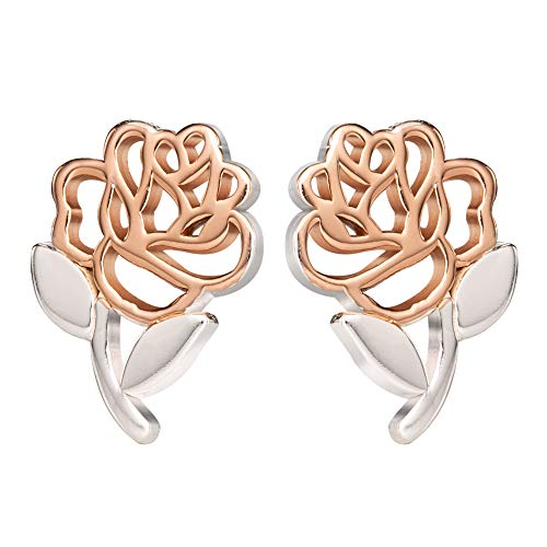 Disney, Beauty and the Beast Sterling Silver Two Tone Belle's Rose Stud Earrings