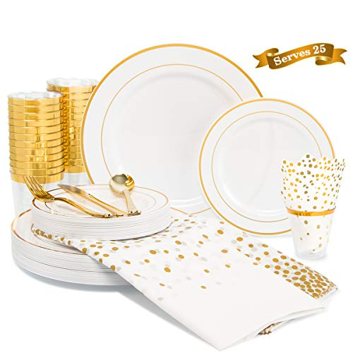 200 Piece Gold Rim Dinnerware Set, 50 Gold Plastic Plates – 25 Plastic Cups – 50 Napkins -75 Cutlery set, 25 Guest…