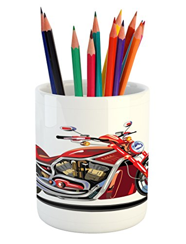 Engine Freedom (Lunarable Motorcycle Pencil Pen Holder, Super Sexy Motorbike with Vivid Color Properties Winged Engine Machine Freedom, Printed Ceramic Pencil Pen Holder for Desk Office Accessory, Red Silver)