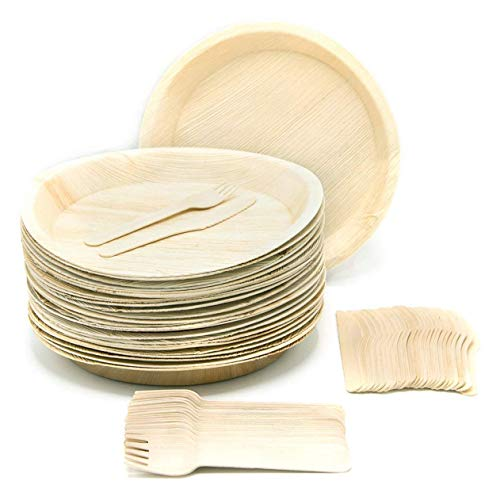 """Eco-Friendly Disposable Dinnerware Set of 75 Party Supplies: Large 10"""" Round Palm Leaf Plates (25), Wooden Forks(25) & Knives (25) - Natural, Compostable"""