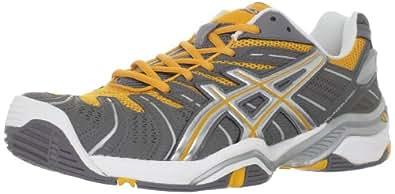 ASICS Men's Resolution 4 Tennis Shoe,Titanium/Tiger Orange/Silver,9.5 M US