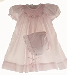 Petit Ami Baby Girls Pink Smocked Day Dress & Bonnet Set -6M