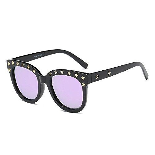 conducir para sol Protección Hombre Viajar polarizadas Eyewear Lady's negro borde Rivet Para de irrompible de Gafas Star Gaf Personalidad Classic sol Gafas Gafas Marco de UV Unisex Púrpura sol mujer Retro con w8fY7xaq