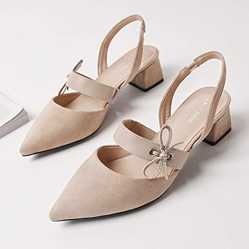 Heels Shoes Plaid Bows Nude Yukun Thick Shoes High Pointed Women'S With Wild High Autumn With Gentle heels Women'S wUqaIUO