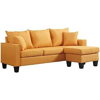 Amazon.com: Moderno sofá seccional en tela de lino ...