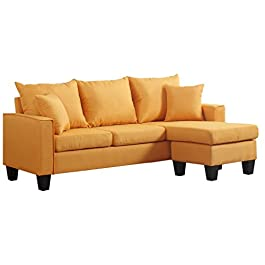 Divano Roma Furniture Modern Linen Fabric Small Space Sectional Sofa with Reversible Chaise
