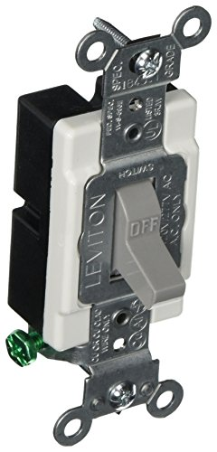 Leviton CS115-2GY 15 Amp, 120/277 Volt, Toggle Single-Pole Ac Quiet Switch, Commercial Grade, Grounding, Gray