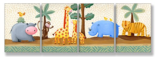 [The Kids Room by Stupell Hippo, Giraffe, Thino, and Tiger in the Jungle 4-Pc. Rectangle Wall Plaque] (Animals That Starts With Letter E)