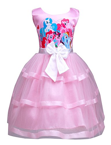 LEMONBABY Little Girls My Little Pony Sleeveless Princess Birthday Lace Dress 2y-7y (4-5T, (My Little Pony Dresses)