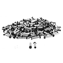 uxcell® 3.5mm x 1.1mm DC Power Jack Male Connector Adapter Black Silver Tone 300pcs