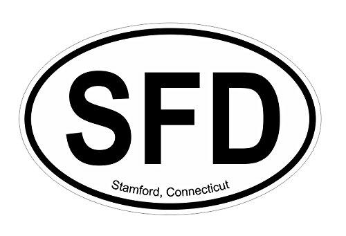 Stamford CT oval Vinyl Decal Sticker (Stamford Kinder)