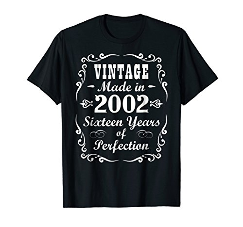 16th Birthday Gift Vintage 2002 Tee Sixteen Years Perfection ()