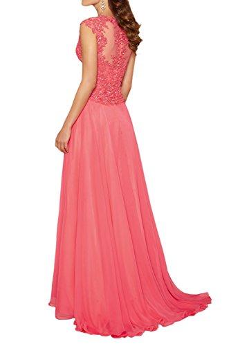 Charmant Abendkleider mit Chiffon Festliche Etuikleider Damen Chiffon Royal Wassermelon Ballkleider Langes Blau Kleider rqrASg