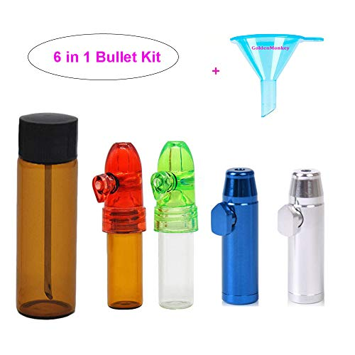 Snuff Jar - 5 Pack Snuff Bullets with DmHirmg Micro Funnel Snuff Snorter Dispenser Bottle 31MM Height(5Pack)