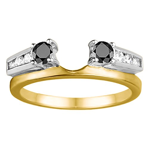 Black Diamonds Wedding Ring Wrap In Two Tone Silver(0.31Ct) Size 3 To 15 in 1/4 Size Interval ()