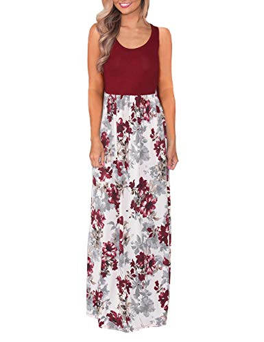DUNEA Women's Maxi Dress Floral Printed Autumn 3/4 Sleeve Casual Tunic Long Maxi Dress (Medium, WineRed#3)