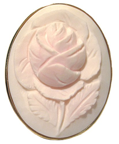 Art Deco Rose Cameo Pin Pendant Pale Pink Shell Master Carved, Sterling Silver18k Gold Overlay Italian