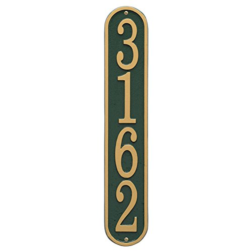 "Whitehall Personalized Cast Metal Address Plaque - Custom House Number Sign - Vertical Oval (3.5"" x 19"") - Green with Gold Numbers"