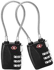 COMLIFE Candados de Combinación de Seguridad TSA Lock Bloqueo de Contraseña de 3 Dígitos con Cable Flexible, Cerradura del Cable para Equipaje Maleta Bolso del Recorrido y Armario del Gimnasio, Negro