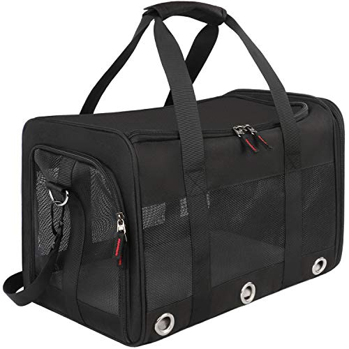 - Mancro Pet Carrier Airline Approved, Soft-Sided Pet Travel Bag for Cats with Mesh Windows and Fleece Padding, Collapsible Dog Carrying Case Fit Under Airplane Seat for Kittens,Puppies and Small Dogs