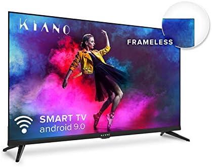 METAL Kiano Elegance TV 32″ Pollici Android TV 9.0 [Televisore 80 cm Frameless Senza Cornice TV 8GB] HD, Smart TV, Netfilx, Youtube, Facebook) Triple Tuner DVB-T2 C/S2, CI, PVR, WiFi, Classe A
