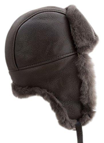 buyfurhat Women's Trapper Ushanka Aviator Russian Sheepskin Hat (XL, Medium Gray) by buyfurhat