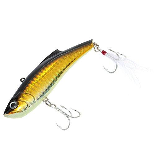 Fishing Lure 9cm 27g VIB Vibration Hard Bait Perch Killer with 2 Treble Hooks Feather Pesca Fishing Tackle Color Gold